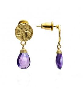 Athena tilgakujulise kiviga kõrvarõngad, purpuurne ametüst/kullatud