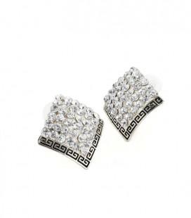 Klaaskristallidega ruudukujulised kõrvarõngad